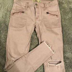 Hollister distressed pink jeans